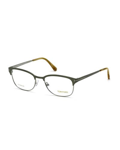 Shiny Metal Square Eyeglasses, Olive Green