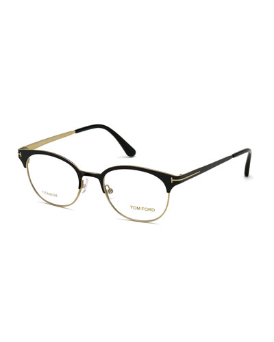 Shiny Titanium Round Eyeglasses, Rose Golden/Black