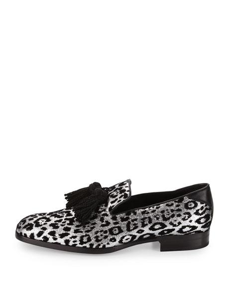 feb7c8f0d08 Jimmy Choo Foxley Men s Glitter Leopard-Print Tassel Loafer