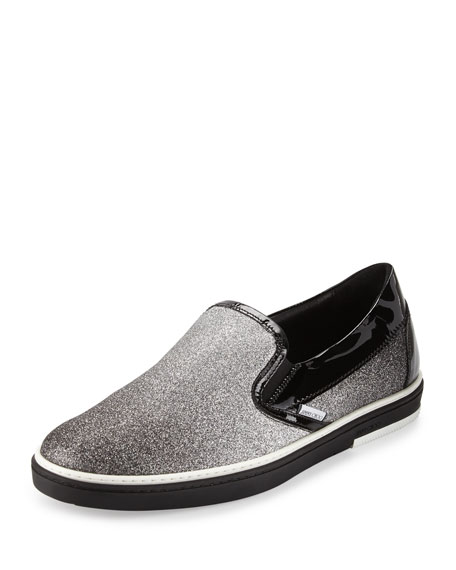 Jimmy Choo Grove Men's Glittered Slip-On Sneaker, Black/Silver