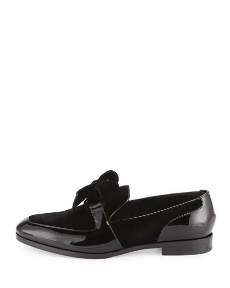 Fred Men's Formal Patent Leather Shoe with Velvet, Black