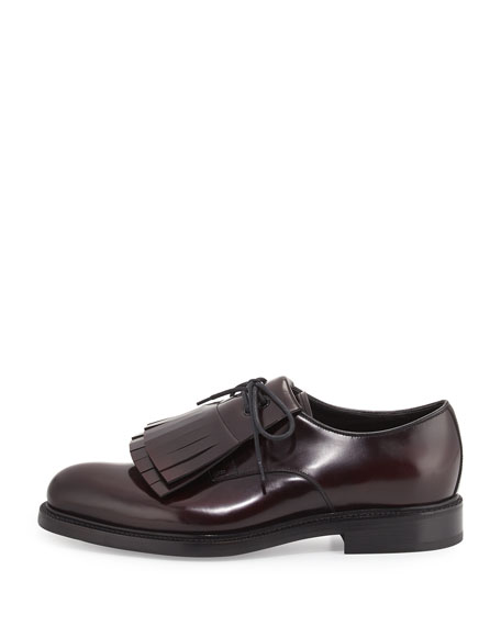 Cordovan Spazzolato Leather Lace-Up w/Removable Fringe