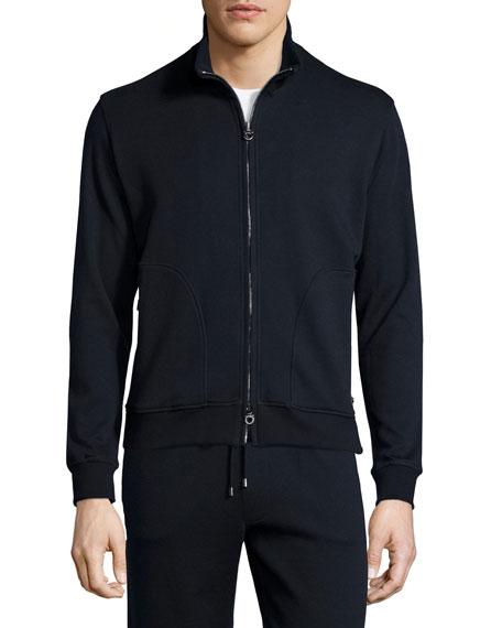 Zip-Up Stretch Sweatshirt, Navy