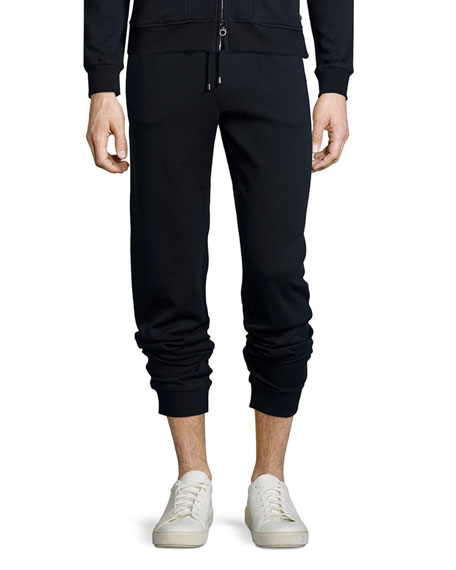 Drawstring Stretch-Knit Sweatpants, Navy