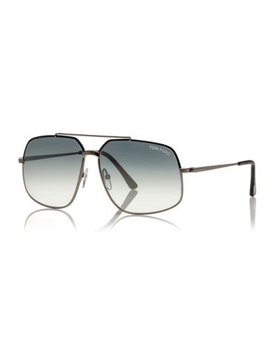 Shiny Metal Aviator Sunglasses, Gunmetal/Silver
