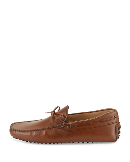 Gommini Tie Leather Driver, Brown