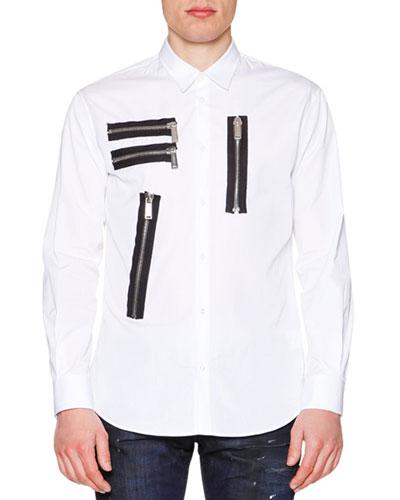 Multi-Zipper Detail Long-Sleeve Shirt, White
