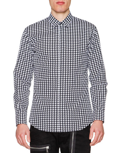 Houndstooth Long-Sleeve Sport Shirt, Black/White