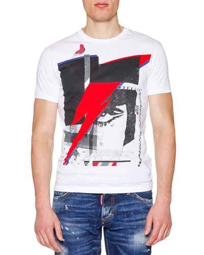 Graphic-Print Short-Sleeve Jersey Tee, White