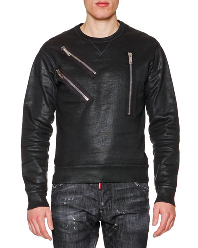 Faux-leather Sweatshirt with Zip-Detail, Black