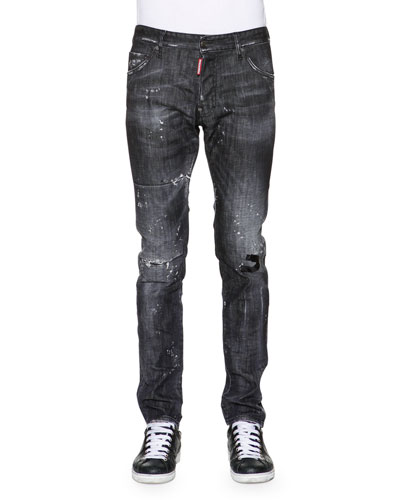 Cool Guy Distressed Washed Denim Jeans, Black
