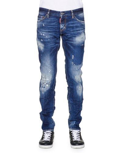 Slim-Fit Distressed Denim Jeans, Blue