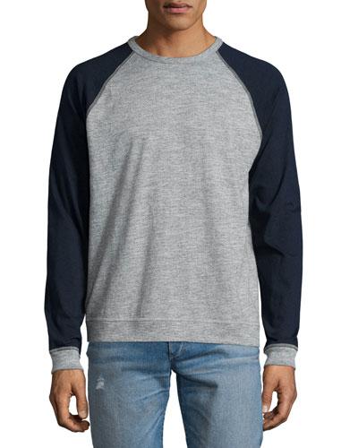 Colorblock Raglan-Sleeve Baseball Shirt, Gray