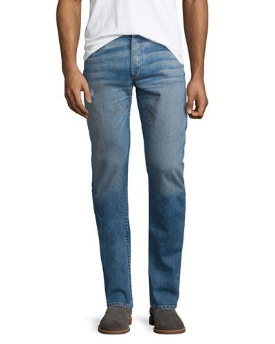 Slight-Distressed Medium Washed Slim Denim Jeans, Clean Ludlow