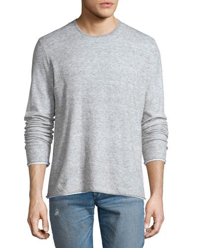 Tripp Melange Long-Sleeve Crewneck Shirt, Light Gray