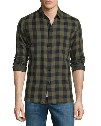 Beach Check Long-Sleeve Sport Shirt, Olive