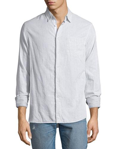 Beach Fine-Striped Sport Shirt, Ivory/Black