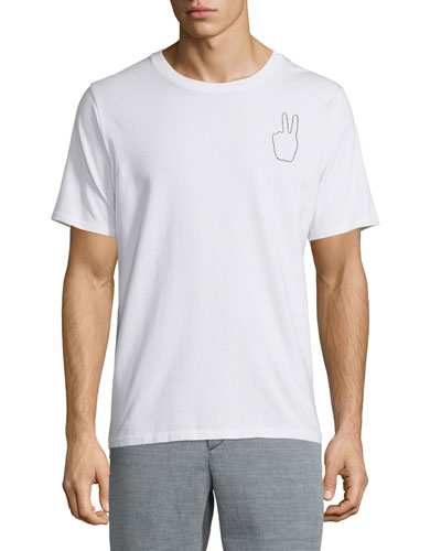 Embroidered Peace-Sign Short-Sleeve Tee, White
