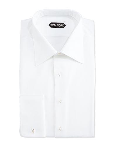 Textured Woven Tuxedo Shirt, White