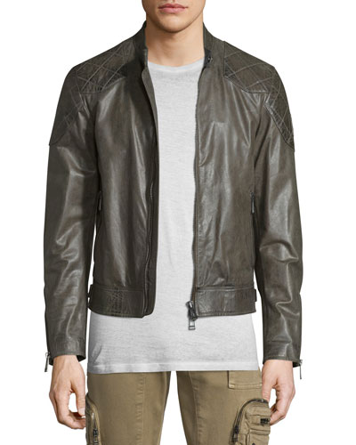 Lightweight Leather Jacket W/Quilted Panels, Combat Green