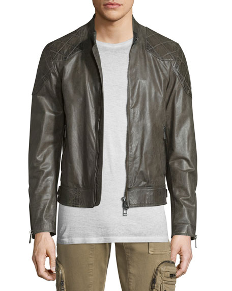 Belstaff Lightweight Leather Jacket W/Quilted Panels, Combat