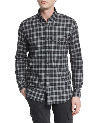 Samuel Check Flannel Long-Sleeve Shirt, Black/Gray