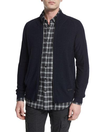 Latham Merino Wool Zip-Up Sweater, Navy Melange
