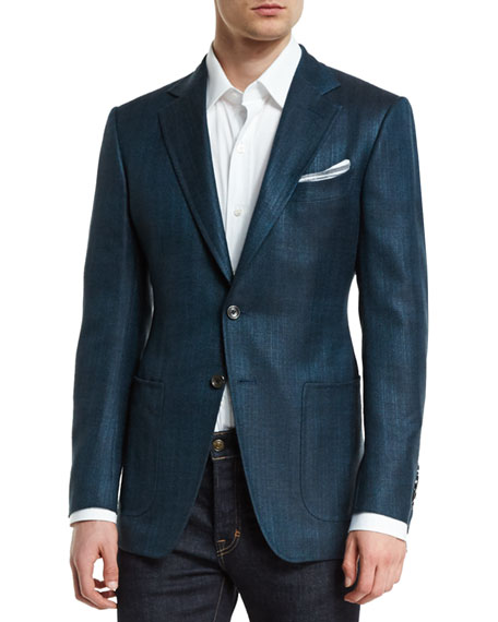 O'Connor Base Rustic Herringbone Sport Jacket, Teal