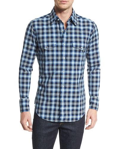 Western-Style Bicolor Check Sport Shirt, Indigo