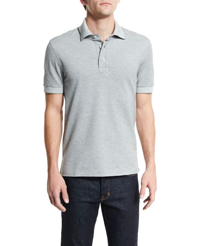 Short-Sleeve Pique Oxford Polo Shirt, Light Gray