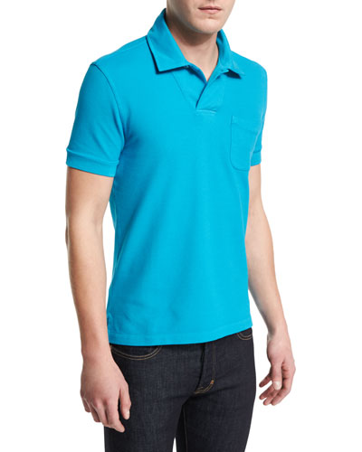 Short-Sleeve Pique Polo Shirt, Aqua