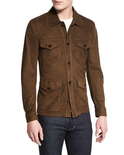 Lightweight Suede Button Jacket, Olive