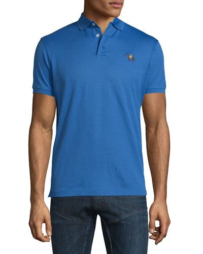 Pony-Embroidery Short-Sleeve Pique Polo Shirt, Blue