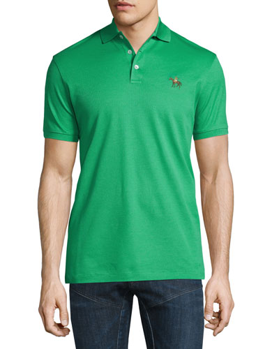 Embroidered-Pony Short-Sleeve Pique Polo Shirt, Spearmint
