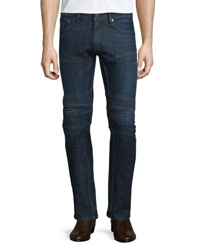 Piston Stretch Moto Jeans, Indigo