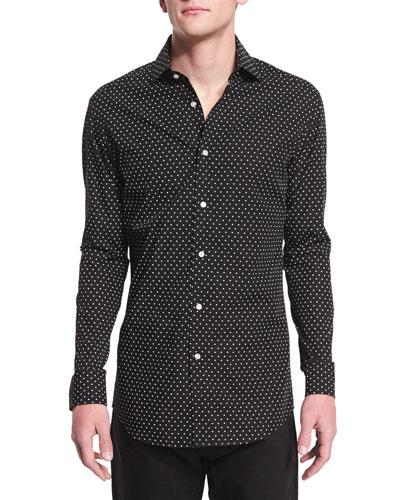 Dot-Print Long-Sleeve Sport Shirt, Black/White