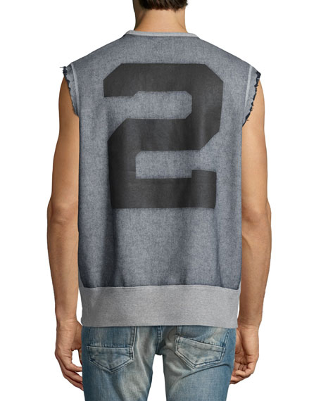 Sleeveless Fleece Cutoff Shirt, Gray