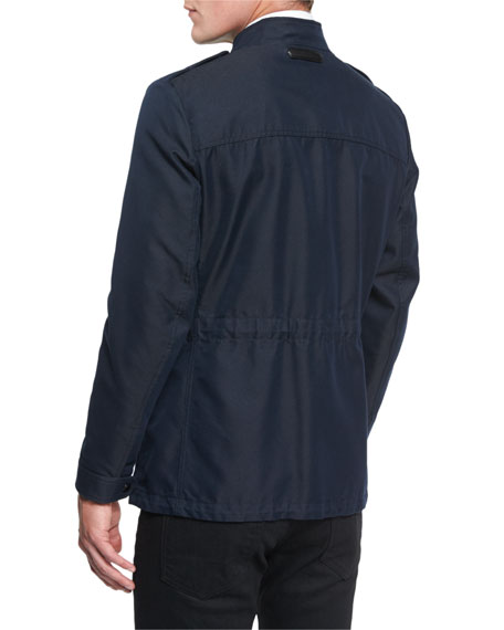 Twill Safari Short-Zipper Jacket, Navy