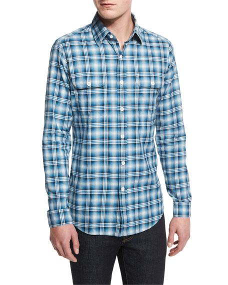 Washed Large-Plaid Twill Sport Shirt, Aqua