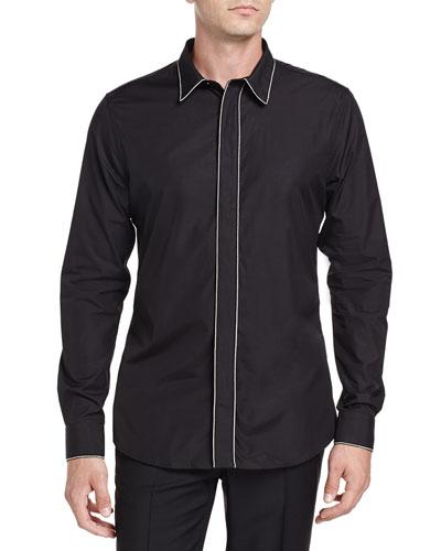 Chain-Trim Long-Sleeve Shirt