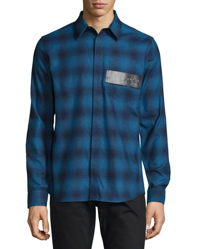 Plaid Flannel Shirt w/Leather Stars Patch