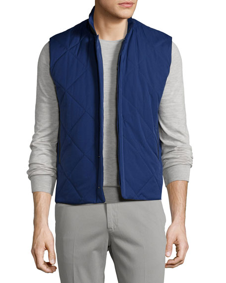 Loro Piana Horsey® Wind Soft Quilted Vest, Twilight