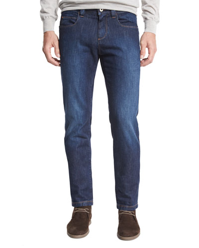 Clean-Wash Straight-Leg Jeans, Dark Blue