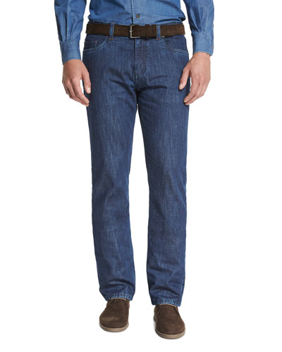 Straight-Leg Denim Jeans, Medium Blue