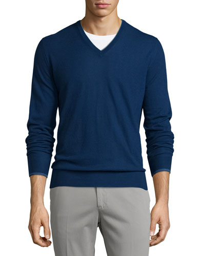 Cashmere V-Neck Sweater, Blue
