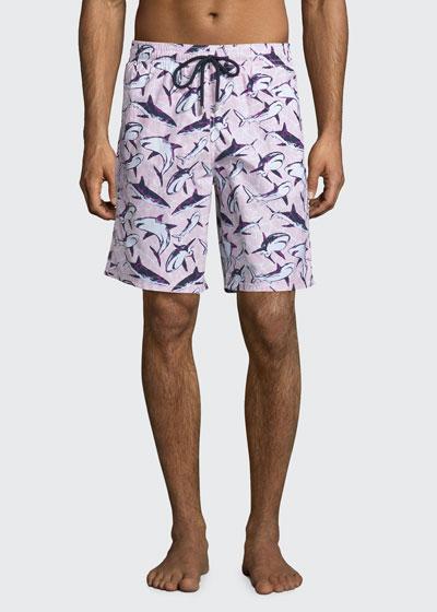 Okoa Shark-Print Swim Trunks, Pink