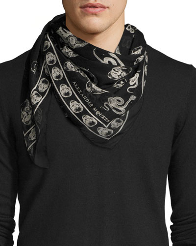 Men's Victorian Scarf, Black/Ivory