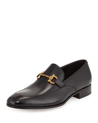 Geremy Antique-Gancini Bit Leather Loafer, Black