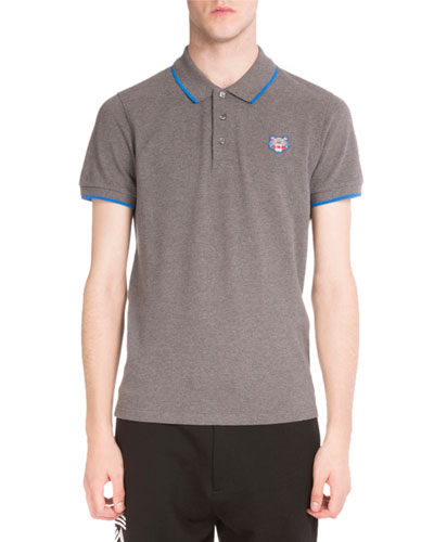 Iconic Tiger Contrast-Tip Polo Shirt, Gray
