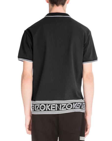 Logo-Hem Polo Shirt w/Contrast Tipping, Black